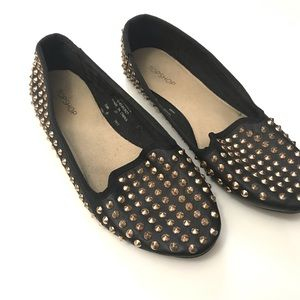 Topshop Black Gold Studded Leather Flats